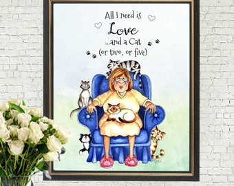 Crazy Cat Lady A4 Print Wall Art Sign - Frame Not Included