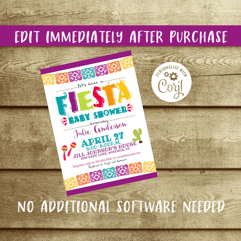Editable Fiesta Baby Shower Invitation, Fiesta Baby Shower, Fiesta ...