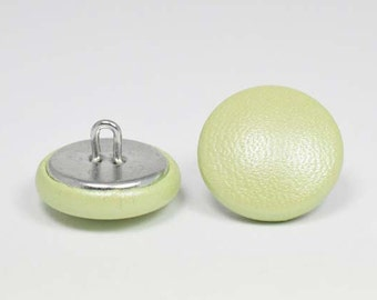 pearly green leather 20mm-6 covered buttons