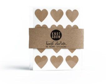 144 Kraft Heart Stickers / FREE SHIPPING