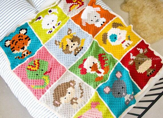 The Zoodiacs Afghan C2C Crochet Pattern