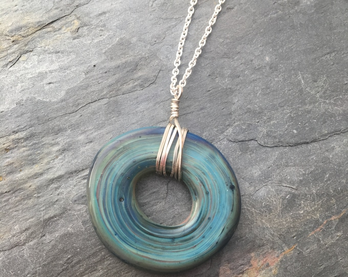 Hand blown Glass Hoop Circle Sterling Silver Wrap Doughnut Shape Blue Gift