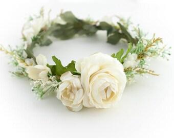 Wedding Flower Crown, Bridal Flower Crown, Wedding Flower Hair, Natural Flower Crown, Boho Flower Crown, Ivory Flower Crown, Wedding Flower
