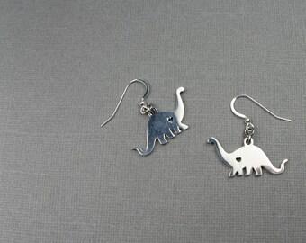 Dinosaur Earrings - Brontosaurus Jewelry for Scientist, Paleontologist, Extinct Prehistoric Animal Lover