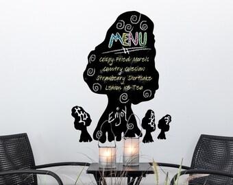 Mushroom Kitchen Chalkboard: Large Morel Mushroom Decor, Menu Board Chalkboard, Removable Wall Decal Vinyl chalkboard (0177b2v)