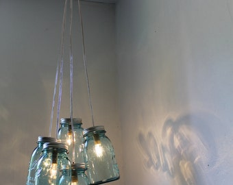 Summer Cottage Mason Jar Chandelier - 5 Antique Aqua Blue Ball Mason Jars Upcycled Into A Hanging Pendant Lighting Fixture - BootsNGus Lamps