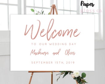 INSTANT DOWNLOAD Wedding Welcome Sign, Rose Gold Wedding, Welcome Sign, Wedding Sign, Printable Wedding Welcome Sign, Calligraphy, Editable