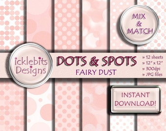 "Dots and Spots (Fairy Dust) Pastels TEXTURED Digital Paper Pack For Scrapbooking 12x12"", 300dpi, 12 sheets - INSTANT DOWNLOAD Design #16"