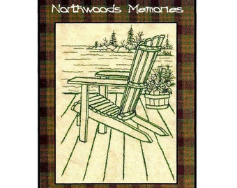 Northwoods Memories Adirondack chair  - Redwork Hand Embroidery Pattern by Beth Ritter - Instant Digital Download