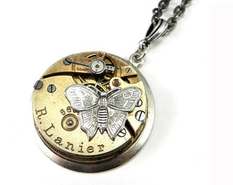 Steampunk Necklace - Silver Clockwork Time Flies Victorian Butterfly Mechanical Watch Movement Ruby Jewel Silver Necklace