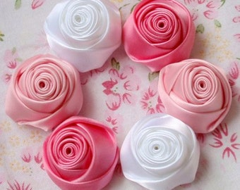 6 Handmade Rolled Roses (1-1/4 inches) in White, Lt Pink, Fantasy Rose MY-025 -04 Ready To Ship