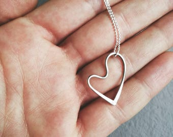 Silver heart necklace, sterling silver heart pendant, dainty heart charm necklace, gift for her, birthday gift