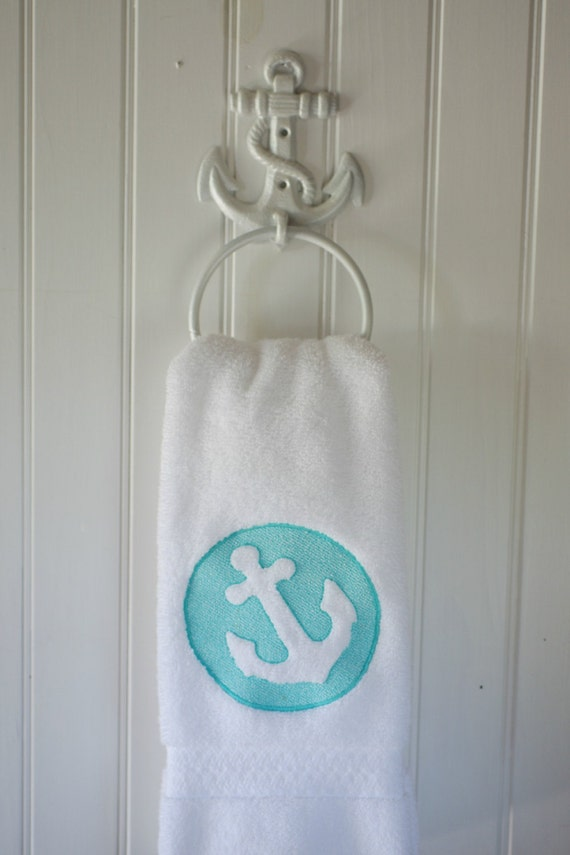 Items Similar To Embossed Embroidered Anchor Bath Hand