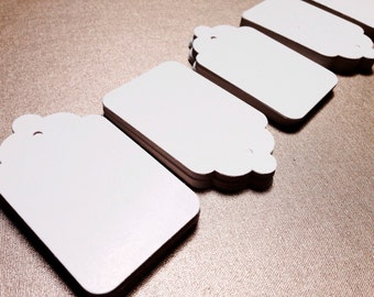 "Scalloped Gift Tags | 100 Pretty WHITE Tag |  Wedding Party Favor Labels | 2 7/8"" x 1 3/4"" 