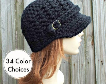 Womens Chunky Crochet Black Newsboy Hat - Jockey Cap Visor Beanie with Buckle - Crochet Accessories - 34 Color Choices
