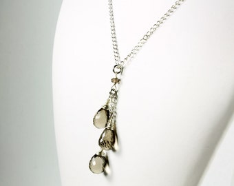 Smokey Quartz Necklace, Sterling Silver, wire wrapped brown-grey gemstone cluster pendant, holiday mother's day gift idea for her, 2911