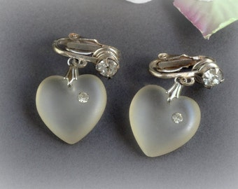 Vintage Clear Frosted Heart Glass Earrings with Rhinestone Accents, Valentine's Day Earrings Dangle Clip On style