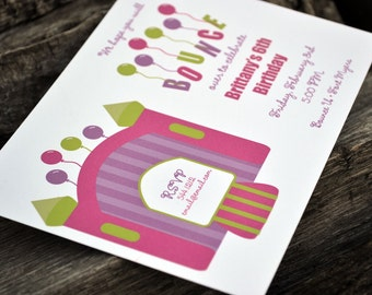 Bounce House Party Invitation / Birthday Party Invitation / Girls Bounce House Party Invitation