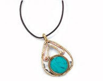 Turquoise Necklace, Turquoise Pendant, Mixed Metal Necklace, Brass Copper Necklace, Nickel Free, Handmade, Boho Chic
