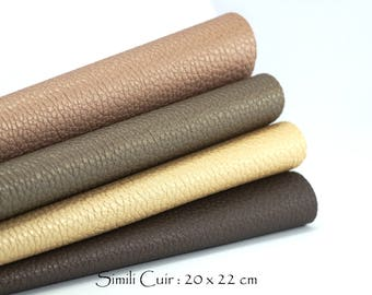 4 coupons fabric faux leather Grain marked iridescent finish - Canvas: 20 x 22 cm - harmony of Brown