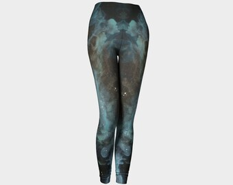 Blue Nebula Performance Wear Leggings, Eco-friendly and printed from original art