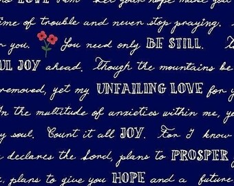 CLEARANCE - One Yard Cut - Whatever is Lovely in Nightfall (navy text) - Meriwether by Amy Gibson for Windham Fabrics -  Quilters Cotton
