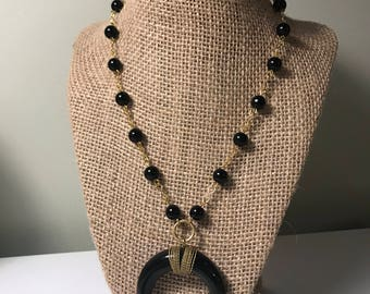 Large Black Crescent Necklace