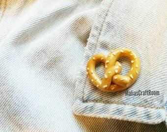 Pretzel Brooch Pin, Tumblr Pin, Polymer Clay Pretzel Pin