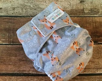 One Size Pocket Cloth Diaper Snow Fox 15-40 lbs PUL