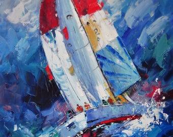 Seascape oil painting, oil on canvas, handmade oil painting, boat oil painting