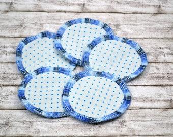 Cosmetic pads made of organic cotton, Abschminkpad, makeup remover, 5 pieces, small, dots blöau light blue, bath, makeup, wellness, Bath