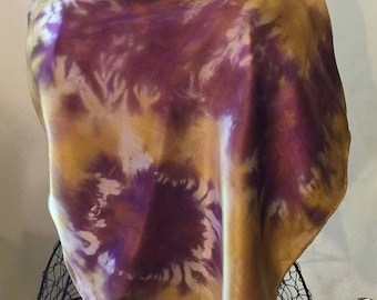 Purple and Gold Silk Satin Scarf