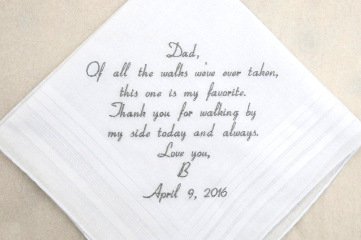 Wedding Handkerchiefs For The Family: Father Of The Bride Gift Embroidered Personalized Wedding