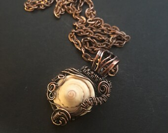 Captured Shell, Copper and Shell necklace, ThePurpleLilyDesigns