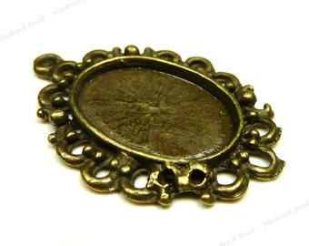 Antique Bronze Tone Cabochon Settings - 10pcs - Oval, 16x12mm Inset Tray - BH17