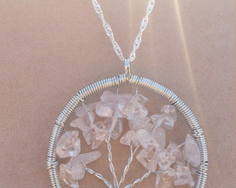 Crystal quartz tree of life pendant on sterling silver plated snake chain necklace
