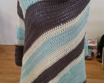 Striped crocheted poncho
