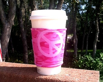 FREE SHIPPING UPGRADE with minimum -  Fabric coffee cozy / cup sleeve / coffee sleeve  - Pink Camo Peace Power