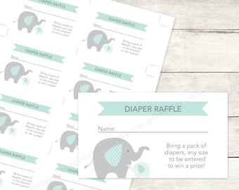 baby shower diaper raffle tickets printable DIY elephants sage green grey cute baby digital shower games - INSTANT DOWNLOAD