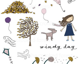 CLIP ART: Windy Day
