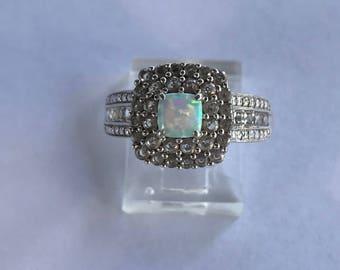 Vintage Pave Diamond Opal Ring Sterling Silver Size 8