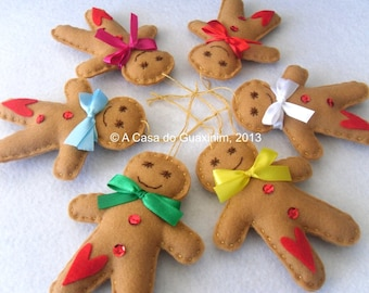 Set of 6 Gingerbread Man - Christmas ornaments