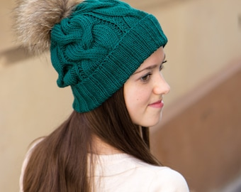 Pom Pom Beanie Hat - Knit Hat For Winter - Knit Slouchy Hat - Green Winter Hat Women - Wool Winter Hat - Ladies Hats