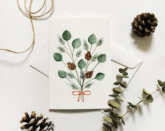 Greeting card with illustration of eucalyptus and pine branches / pine cones / watercolor painting / minimalist design