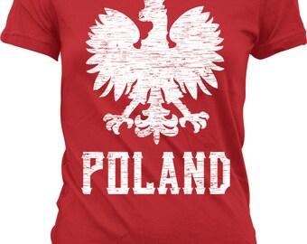 Poland Eagle Ladies T-shirt, Polish White Eagle, Polska Eagle, Polish Coat of Arms, Junior and Women's Poland T-shirts GH_02177