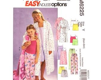 Girls Robe & Pajama Pattern McCalls 6225 Sleepover Pajama Nightgown Camisole Top Pajama Pants or Shorts Sewing Pattern Size 3 to 6 UNCUT