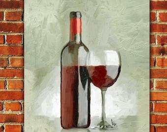 WINE PAINTING Wine Painting Wine art Wine glass art original painting red Wine oil painting still life Wine quote kitchen artWine decor Art
