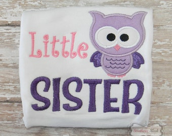 Lil Sister Embroidered Shirt or Bodysuit in Pink & Purple