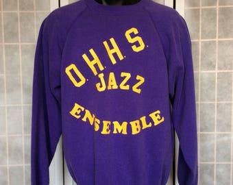 Vintage 1990s// OHHS Jazz Ensemble// Purple Yellow// Crew Neck Sweatshirt// XL