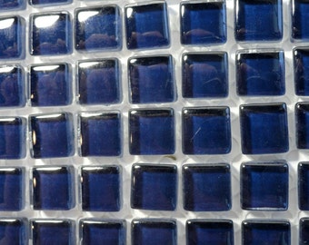 100 (10mm) MINI Cobalt Ink Indigo Blue Crystal Glass Tiles, 3/8 in.// Mosaic Supplies// Crafts//Mosaic